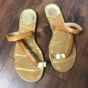 Sam & Libby Gold and Tan Leather Sandals
